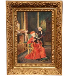 Early 20th Century French Painting with Priest and Cardinal Signed M. R. 1905