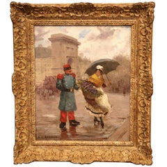 19th Century French Oil on Canvas Painting in Gilt Wood Frame Signed Recolin
