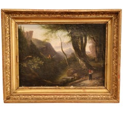 19th Century French Oil on Canvas Pastoral Painting in Original Gilt Frame