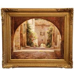 "Framed Giclee on Canvas Painting ""La Cour Du Village"" Signed Leonard Wren 2001"