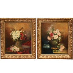 Pair of 19th Century French Signed Still Life Flower Paintings in Gilt Frames
