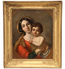 "Mid-18th Century French Framed Oil on Canvas ""Vierge a l'Enfant"" Painting"