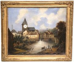 """18th Century French """"Clock Painting"""" with Original Movement in Working Order"""