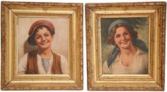 Pair of 19th Century Italian Portraits Paintings in Gilt Frames Signed Rossi