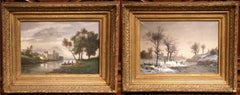 Pair of 19th Century French Pastoral Paintings in Gilt Frames Signed Chamby