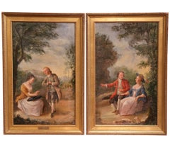 Pair of 18th Century Louis XV Framed Oil on Canvas Paintings by La Pioline