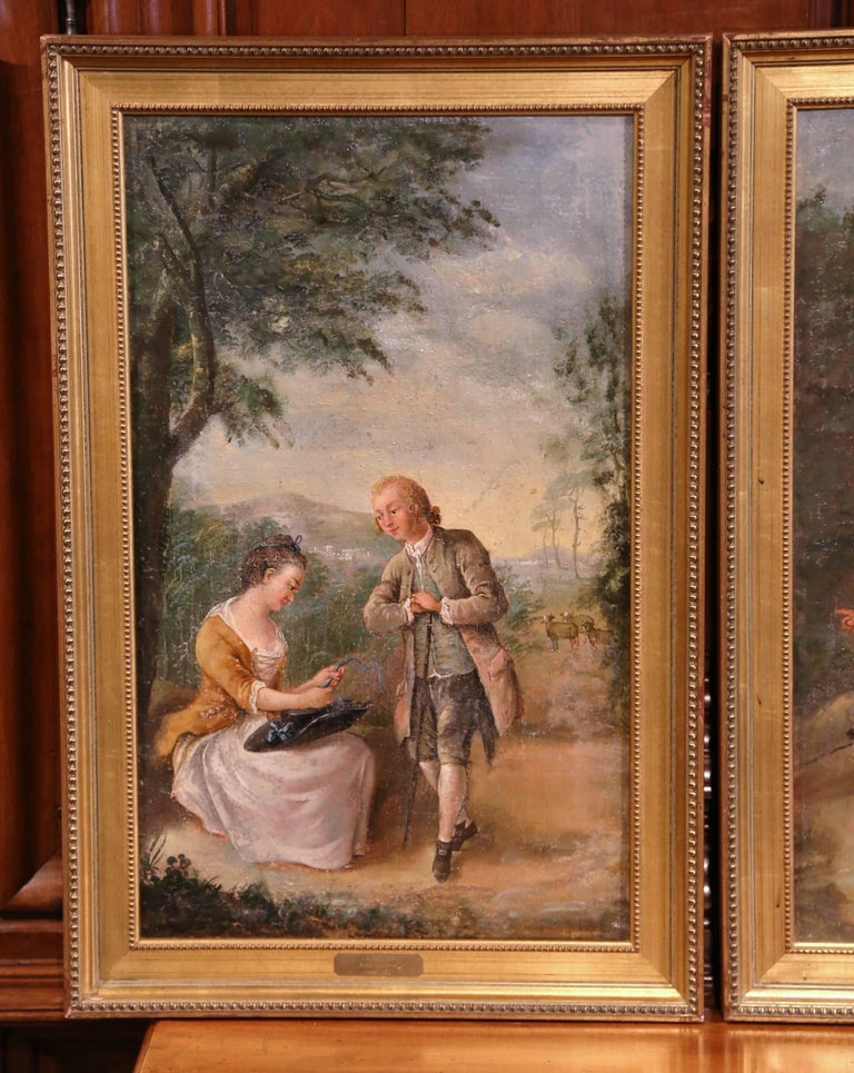 Pair of 18th Century Louis XV Framed Oil on Canvas Paintings by La Pioline - Brown Figurative Painting by Unknown