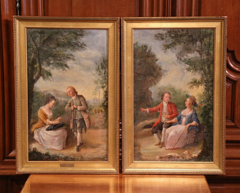 Pair of 18th Century Louis XV Framed Oil on Canvas Paintings by La Pioline For Sale 1