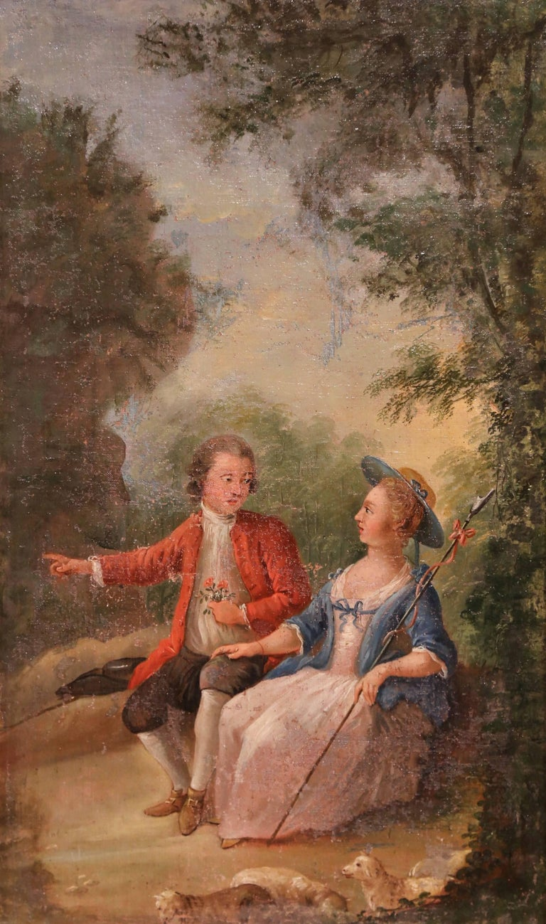 Pair of 18th Century Louis XV Framed Oil on Canvas Paintings by La Pioline For Sale 4