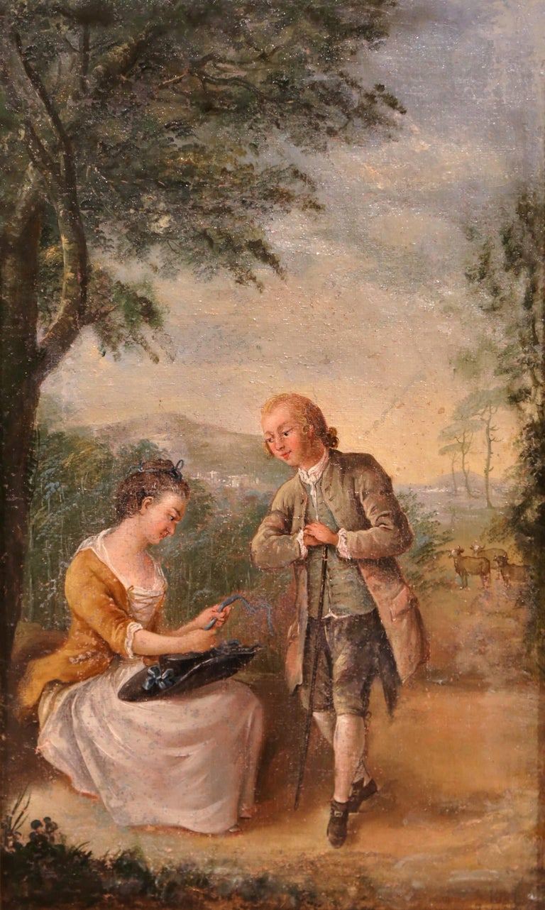 Pair of 18th Century Louis XV Framed Oil on Canvas Paintings by La Pioline For Sale 3