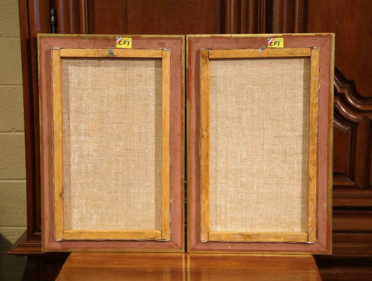 Pair of 18th Century Louis XV Framed Oil on Canvas Paintings by La Pioline For Sale 5