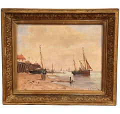 19th Century French Oil on Canvas Marine Scene Painting Signed J. Edmond