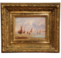 19th Century French Oil on Board Brittany Beach Painting in Carved Gilt Frame