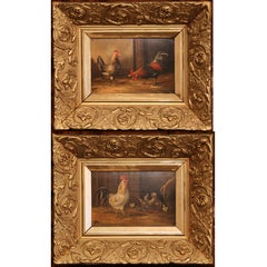 Pair of 19th Century French Oil Chicken Paintings on Board in Carved Frames