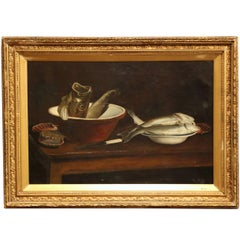 19th Century English Still Life Painting in Gilt Frame Signed and Dated 1847