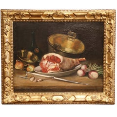 19th Century French Oil Still Life Painting in Gilt Frame Signed and Dated 1897