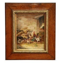 19th Century Framed Oil on Canvas Chicken Painting Signed E. Coppenolle