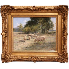 19th Century Sheep Painting in Carved Gilt Wood Frame Signed R. L. Johnston