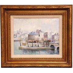 """Framed Oil on Canvas Painting """"L'Ile Saint-Louis, Paris"""" Signed Lucien Delarue"""