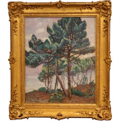 """French Framed Oil on Canvas Painting """"Hossegor 1928"""" Signed Pierre Gaston Rigaud"""