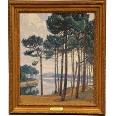 """Early 20th Century Oil Painting in Gilt Frame """"Les Pins Bleus"""" Signed P. Rigaud"""