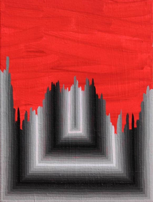 Andrew Schoultz Abstract Painting - Broken Formality (Grey)