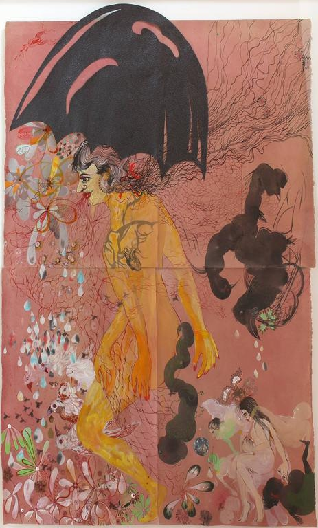 Rina Banerjee Figurative Painting - The last population unsorted and tangled, smaller and larger, darker and...