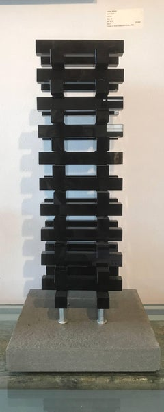 'Urban Glass Series' Glass standing tabletop black sculpture