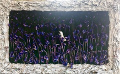 My Letter to the World (Large 3D Purple Irises, Woman Reading among Flowers)