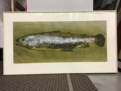 green trout fish painting with mirror and passion