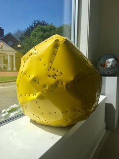 Large Yellow Copper Ball Sculpture