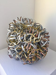 Copper Wire Spiral Ball Sculpture (Silver and Gold)