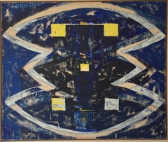 Melchizedek (ABSTRACT BLUE/YELLOW PALETTE, OIL ON CANVAS)