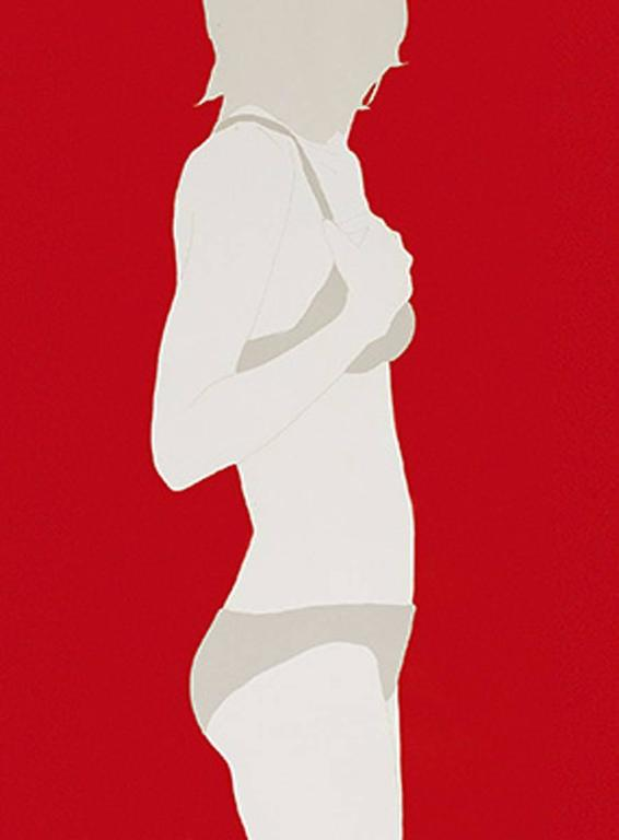 <i>Grey Top and Bottoms on Red,</i> 2017, by Natasha Law