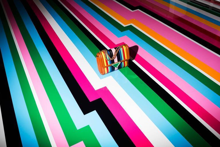 Ferragamo (stripes with Sara Battaglia bag)