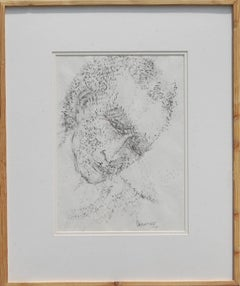 """Potrait: A Man,Chinese Ink Paper, Black-White by Indian Master Artist """"In Stock"""""""