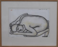 "Man Kneeling on the floor, Nude, Pastel on paper by Modern Artist ""In Stock"""