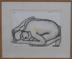 Man Kneeling on the floor, Nude, Pastel on paper, Black, White by Indian Artist