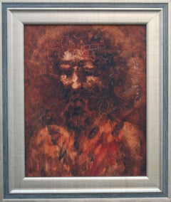 """Christ, Oil on Canvas, Brown, Red colors by Modern Indian Artist """"In Stock"""""""