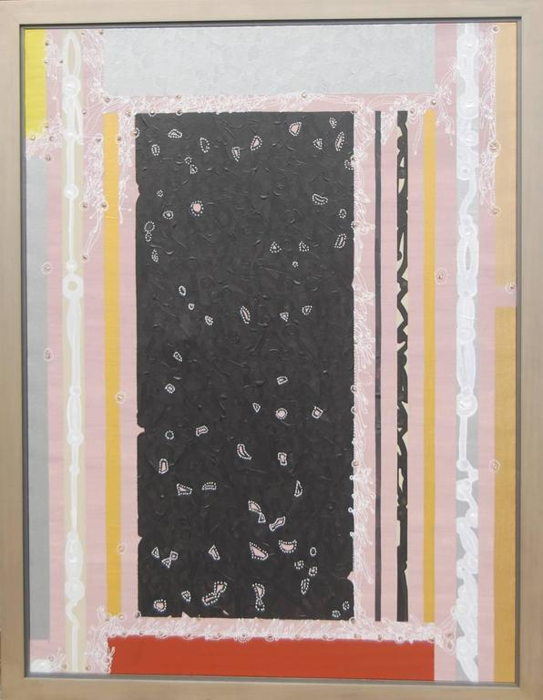 """Abstract, Black Silver Pink Grey, Textured with Gold by Indian Artist """"In Stock"""" - Mixed Media Art by Amitava Das"""