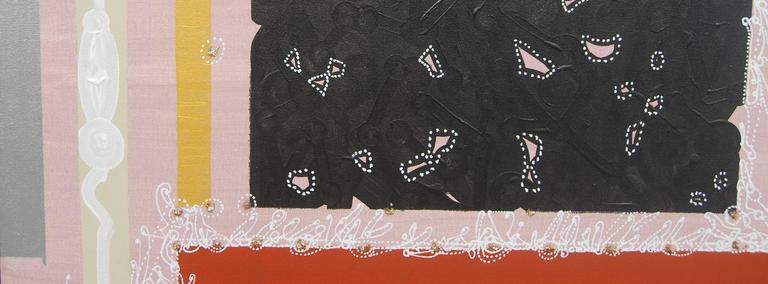 Abstract, Black Silver Pink Grey, Textured with Gold by Indian Artist