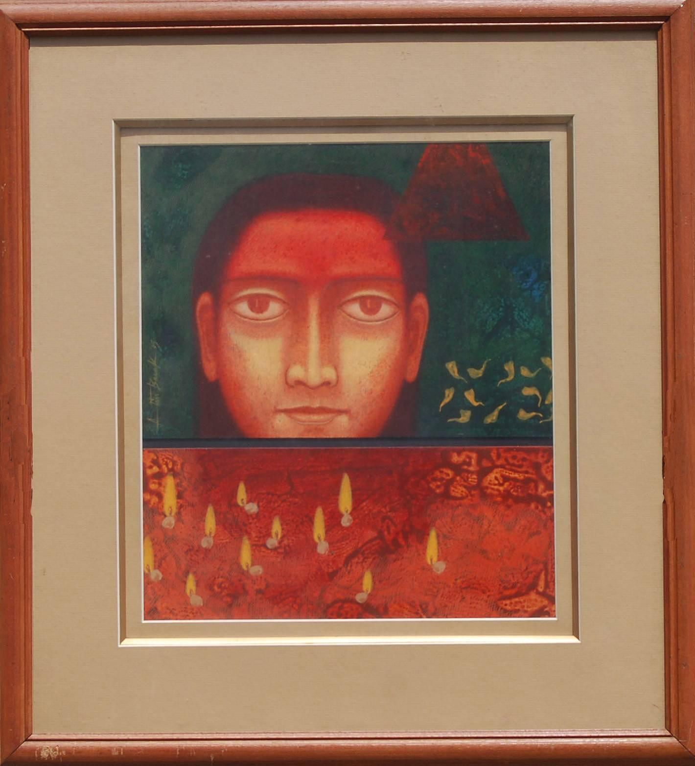 """Face, Man, Tempera on Board, Red, Yellow, Green, Contemporary Artist """"In Stock"""""""