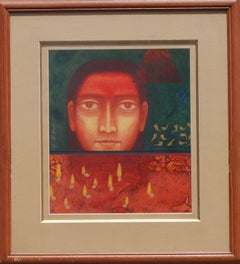 "Face, Man, Tempera on Board, Red, Yellow colors by Indian Artist ""In Stock"""
