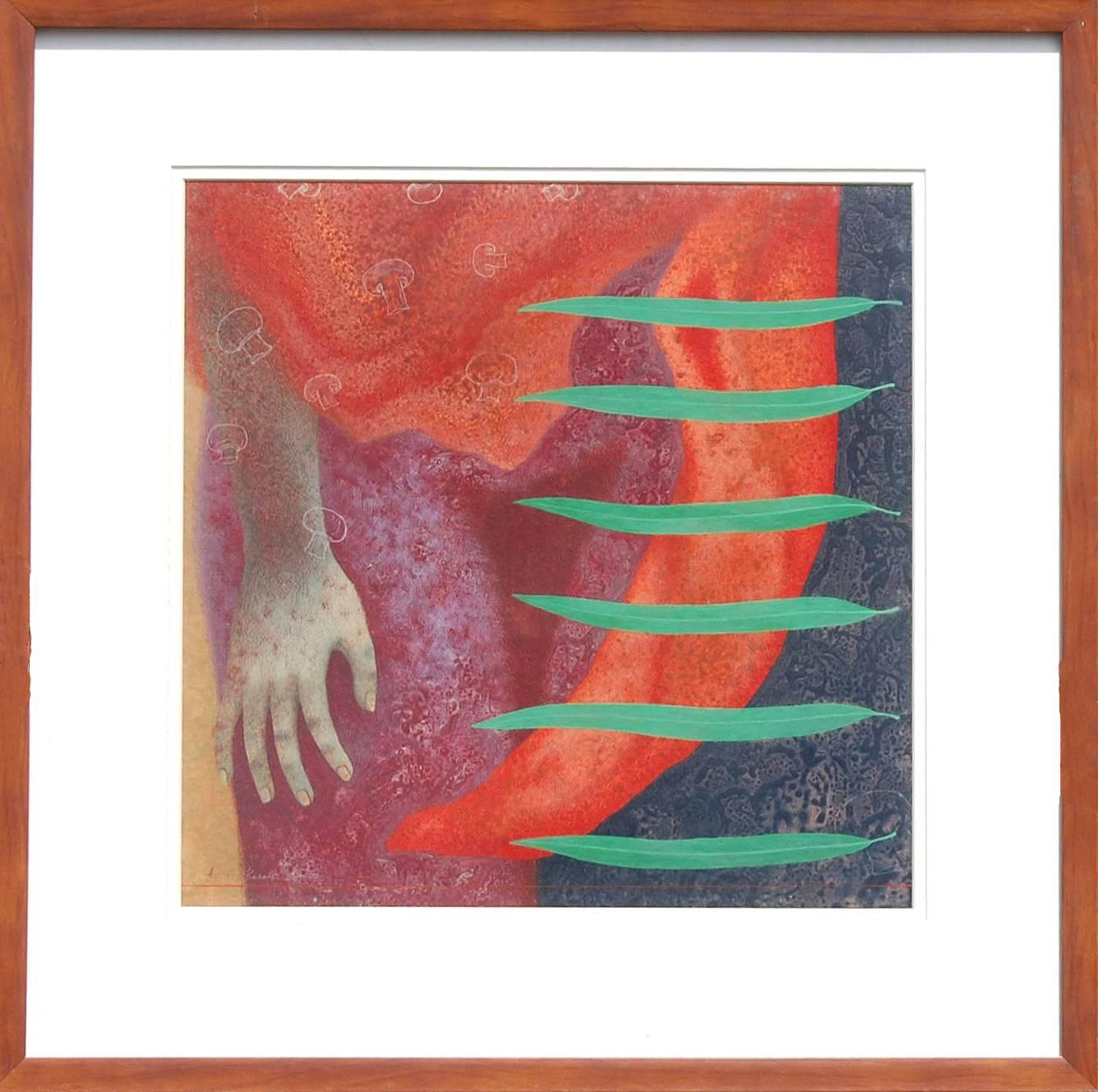 "Figurative, Hand, Tempera on Board, Red, Orange, Green, Indian Artist ""In Stock"""
