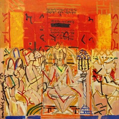 "Inscription Series III, Acrylic on Canvas, Red, Yellow, Indian Artist""In Stock"""