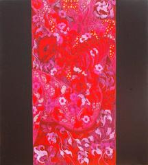 """My Beloved Assassin, Acrylic Painting, Red Foliage Intricate Flowers """"In Stock"""""""