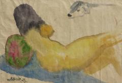 Reclining nude, back of a woman perhaps sunbathing, Indian Modern Art