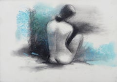 "Nude, Seated Women, Charcoal & Pastel on Board, Blue, Black colors ""In Stock"""