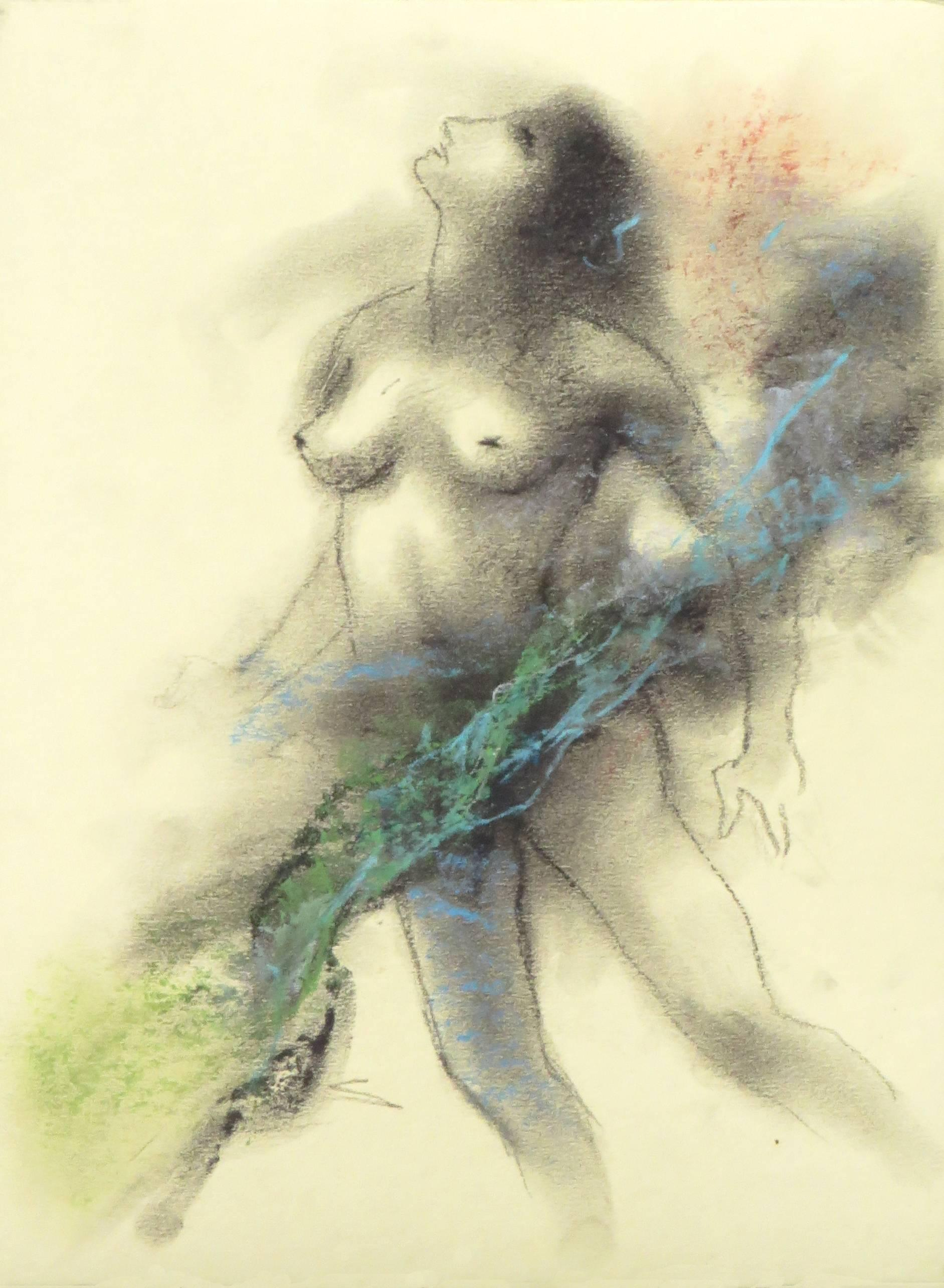 """Nude, Drawing of Woman, Charcoal, Pastel, Blue, Red, Indian Artist """"In Stock"""""""