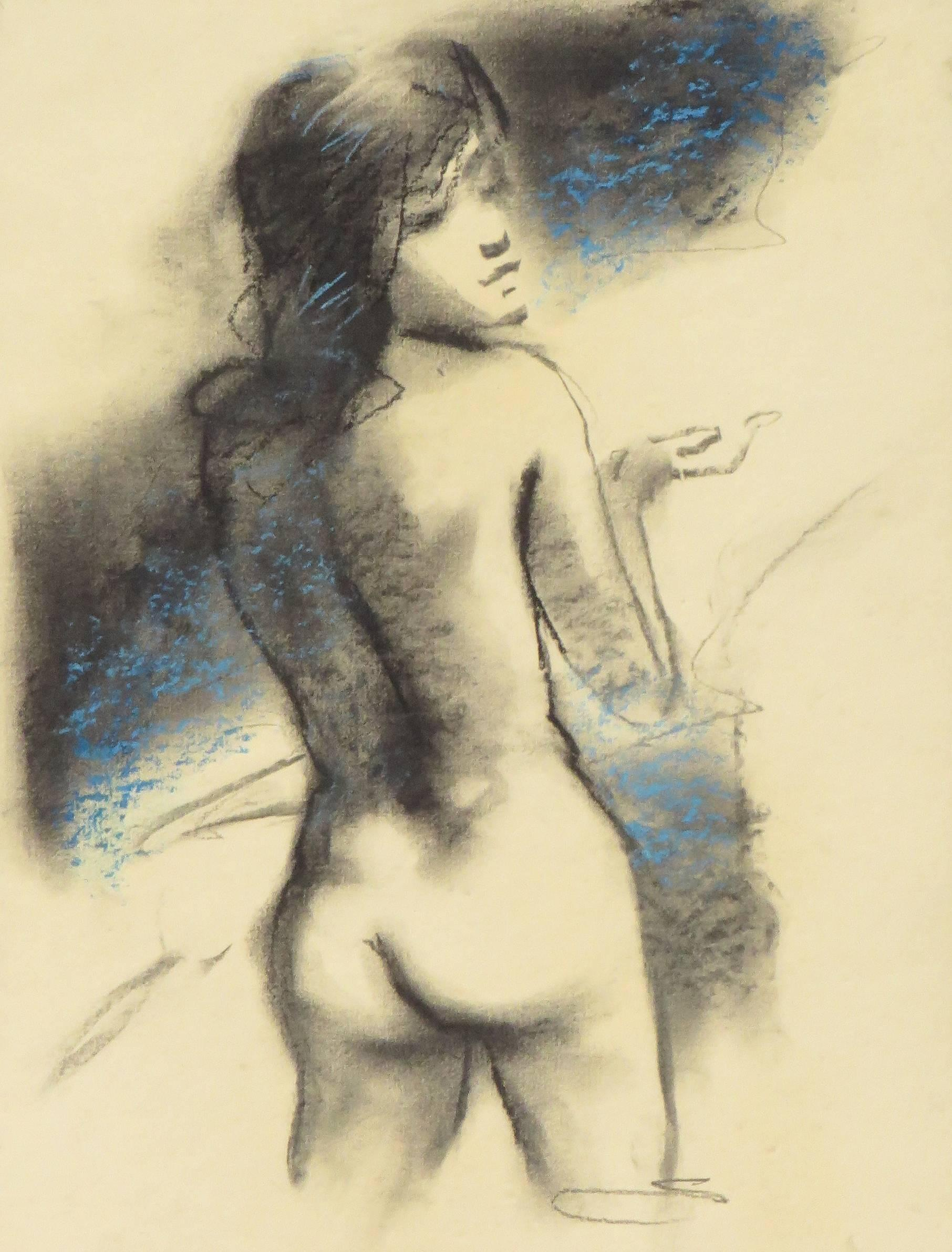 """Nude, Drawing, Woman, Charcoal, Pastel, Blue by Contemporary Artist """"In Stock"""""""